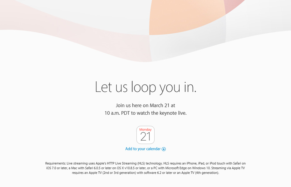 iPhone SEの製品発表をライブで見よう